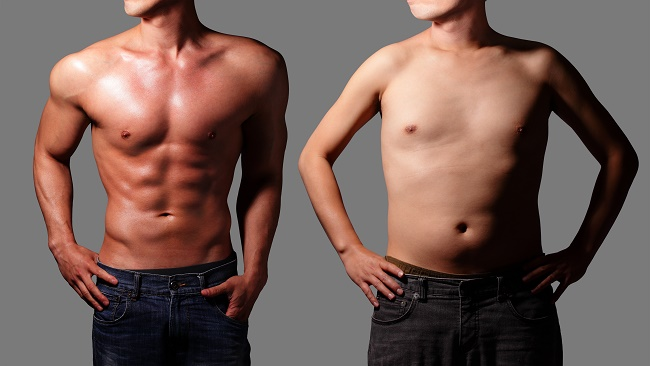 After Sexy muscular young man and before fat man body. Isolated on gray background. asian
